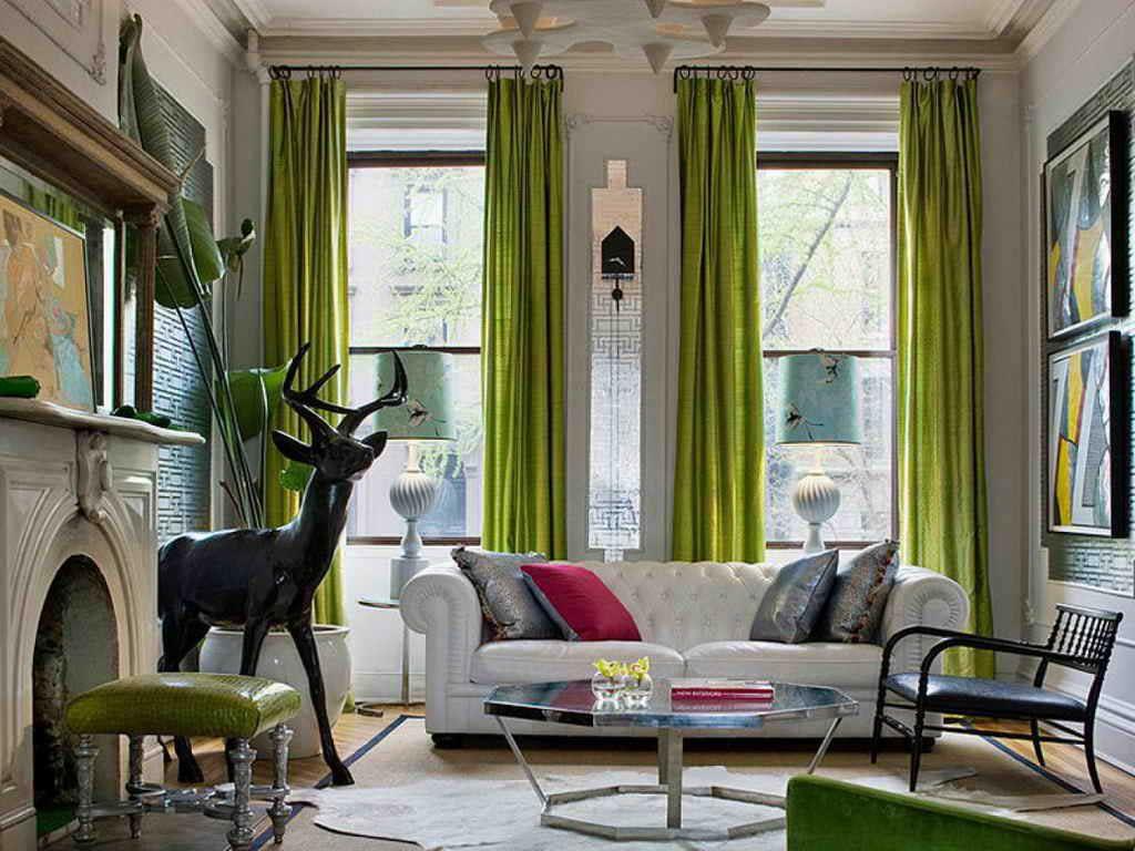 Портьеры на высокие окна в гостиной