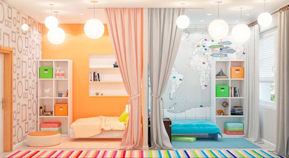 Шторы в детскую комнату мальчика и девочки