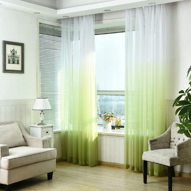 Тюль-вуаль с эффектом омбре на окнах