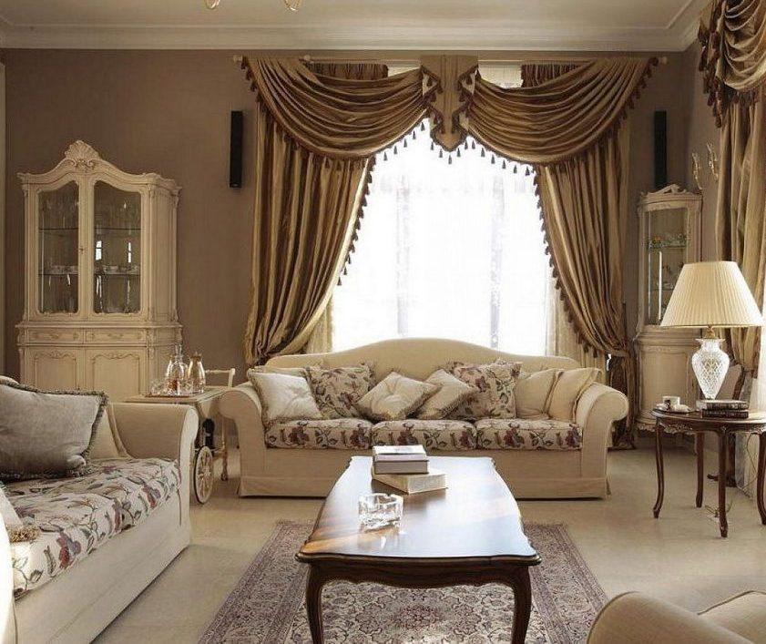Гостиная и шторы в классическом стиле